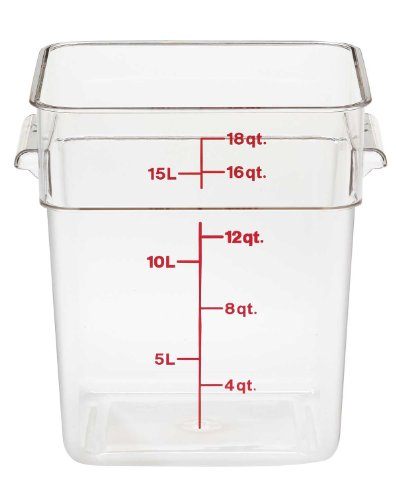 Cambro Camwear Polycarbonate Square Food Storage container, 18 Quart, Clear
