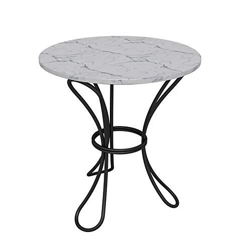 Axdwfd bijzettafel Wit Marmer Top Bistro Eettafel, Perfect voor Terrassen, Tuinen Of binnen, Zwart, 50 X 60cm