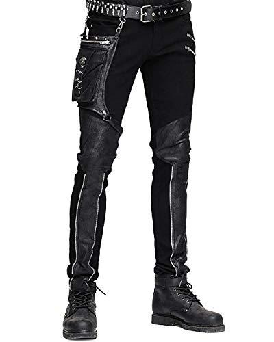 Devil FASHION HOMBRE dieselpunk Pantalones Vaqueros Negro Gótico Punk Piel Sintética Hip Bolso - Negro, X-Large