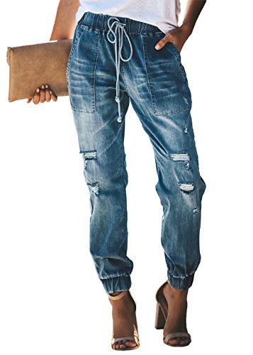 Feditch Women's Pull-on Distressed Elastic Waist Denim Joggers Pants with Pockets Blue X-Large