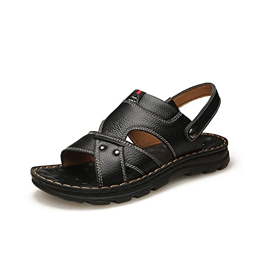 MARLU Mens Leather Sandals Outdoor Hiking Sandals Waterproof Athletic Sports Sandals Fisherman Beach Shoes Open Toe Water Wide Feet Sandals, Gift,Black,42