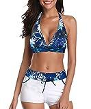 Century Star Women Swimsuit Halter Push Up Top Boyshort Bikini Set Two Piece Bathing Suit Swimwear Floral Print Blue 6-8