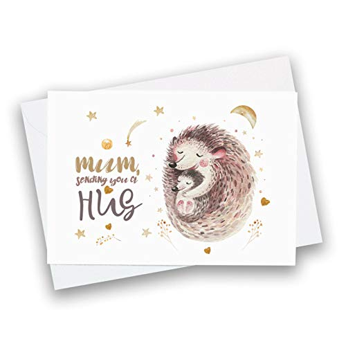 Mum sending you a hug card/Cute Mother's Day greetings card/Mum and baby/Mummy birthday card/Social distanced card for mum/First