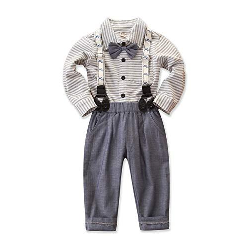 mtxtechnology peuter baby jongen Gentleman Outfit strik gestreepte shirt Suspenders lange broek pak
