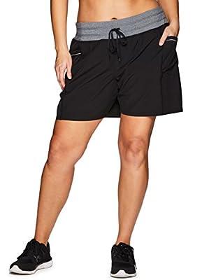 RBX Active Women's Plus Size Woven Short w/Knit Waist Black 2X