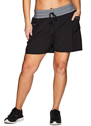 RBX Active Women's Plus Size Woven Short w/Knit Waist Black 3X