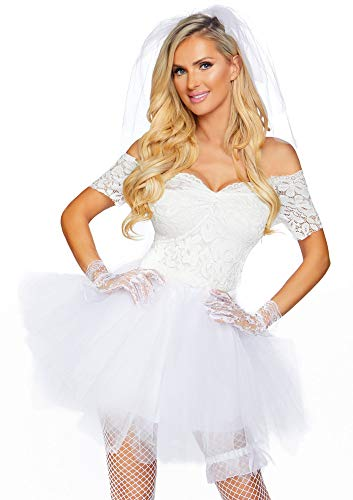 shoperama Braut Damen-Kostüm Kleid Creme/Weiß mit Spitze Tüllrock Schleier Strumpfband von Leg Avenue, Größe:M/L
