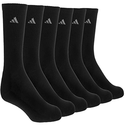 adidas Men's Athletic Cushioned Crew Socks (6-Pair), Black/Aluminum 2, Large, (Shoe Size 6-12)