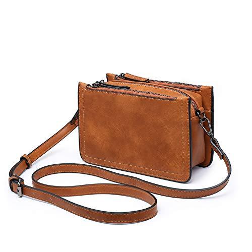 Women Leather Cross Body Shoulder Bag,seOSTO Multi Pockets Travel Small Handbags Three Zippers Layers Waterproof Vintage Messenger Bag