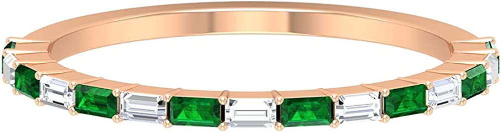 1/4 CT Created Emerald Floating Half Eternity Band Ring with Diamond (AAAA Quality), 14K Solid Gold