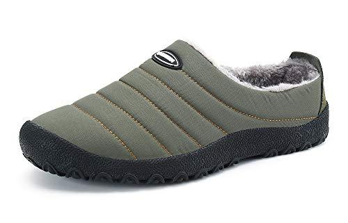Zapatillas de Casa para Hombre Mujer Invierno Interior Exterior Antideslizantes Slippers,Verde,43