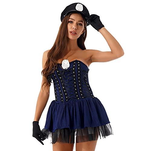 NC Cosplay, Disfraz de Oficial de policía Sexy para Mujer, Vestido sin Tirantes en Capas, Juego de Roles de Halloween