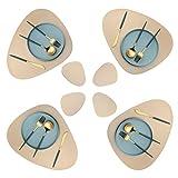 Platzset oval, Lederoptik Tischset und Untersetzer 4er-Set,wärmedämmend, schmutzabweisend, rutschfest, Tischset wasserdicht, waschbar, abwischbar,Bunte Tischset (Golden)