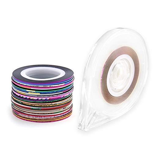 Aaren 30 Rolls Mixte Couleurs Nail-Art Striping Ruban Ligne Sticker avec Support de boîtier de Bande 1Pc Outil Gratuit Deco DIY pour Femmes Filles