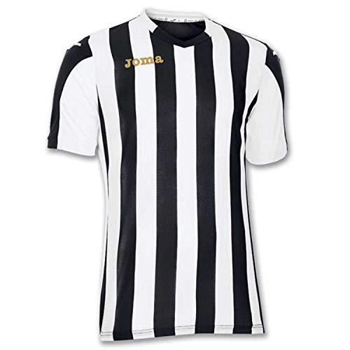 Joma Copa Camiseta de Equipación de Manga Corta, Hombre, Negro/Blanco, L