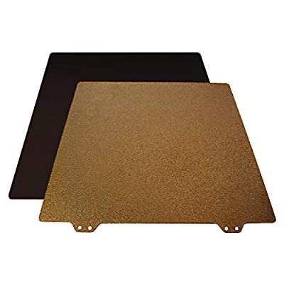 Toaiot 3D Printer 220x220mm/8.6x8.6 inch Gold Double Sided Textured PEI Powder Coated Spring Steel Build Plate Steel Sheet with Magnetic Platform B for Anet A8/Wanhao Duplicator i3/Monoprice Maker