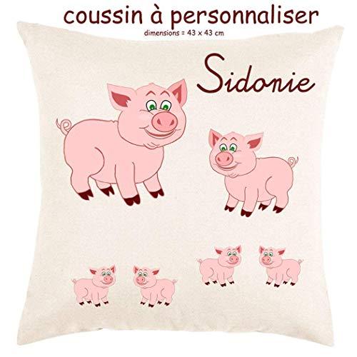 Coussin avec sa Housse Toucher très Doux Cochon Personnalisable avec un Prénom Exemple Sidonie