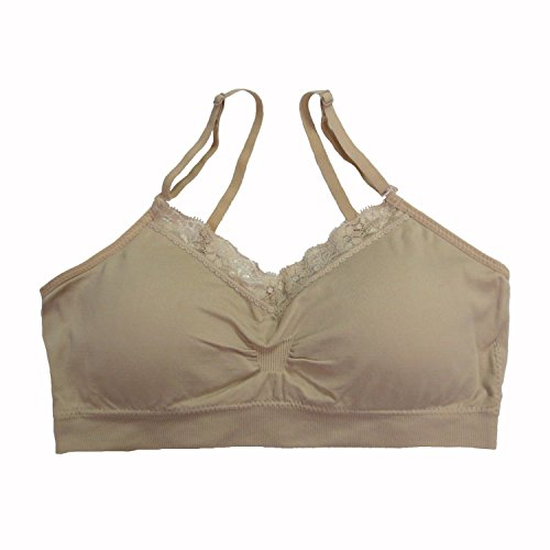 Coobie Women's Strappy V-Neck w/Lace, Light Nude