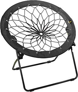 Bunjo Bungee Chair Dorm. Bedroom, Entertainment Center, Patio Furniture, Sporting Events and Camping (1, Black/Grey)