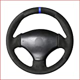 ZHHRHC Cubierta de Volante de Coche de Cuero de Gamuza Negra Cosida a Mano, para Peugeot 206 1998 2005206 SW 2003 2005206