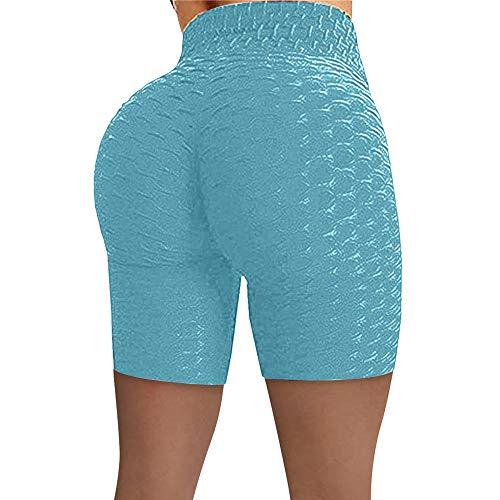 Yumanluo Mallas de Deporte de Mujer,Pantalones Cortos de Yoga de Caderas, Pantalones de Fitness de Cintura Alta-Azul-Verde_M,Leggings Mujer Fitness Suaves Elásticos Cintura Alta para
