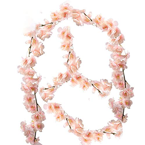 nobrand künstliche Blumne Kirschblüten Girlande Künstliche Rosen Blumengirlande Künstlich Seidenblumen Gefälschte Blumen Rose Girlande Hängend Rebe für Zuhause Wand Hochzeit Bogen Dekor