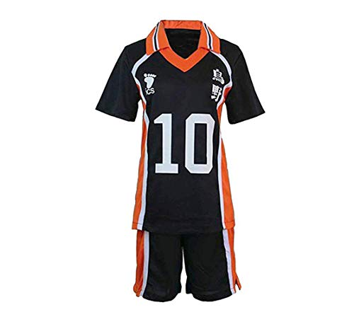 Siskey Haikyuu!!Karasuno High School Volleyball Club Hinata Shouyou Cosplay,Haikyuu Costume Uniform Hinata Kageyama Cosplay,Volleyball-Uniformtrikot-10,M