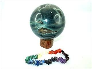 Jet Ocean Jasper 45-50 mm Ball Sphere Gemstone A+ Hand Carved Crystal Altar Healing Devotional Focus Spiritual Chakra Cleansing Metaphysical Jet International Crystal Image is JUST A Reference