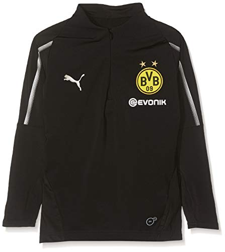 PUMA Kinder BVB 1/4 with Sponsor Logo T-Shirt, Black, 152