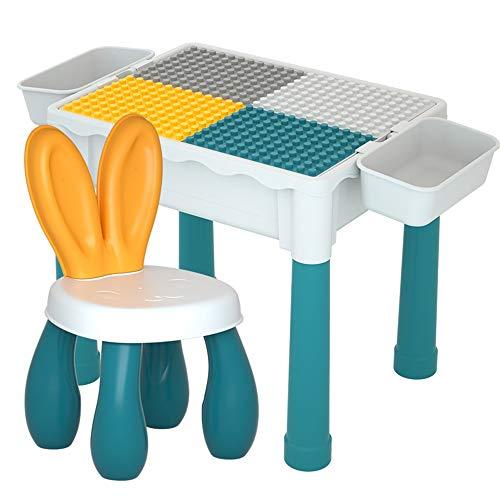 Tabla de Juego y Estudio con bloques grandes Mesa de juego de bloques de construcción multiusos y 1 conjunto de sillas Muy Adecuado Para Manos pequeñas. ( Color : Multi-colored , Size : One szie )
