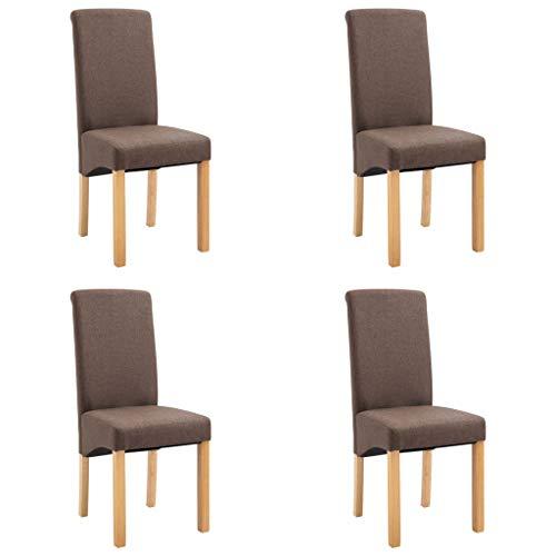 vidaXL 4X Esszimmerstuhl Esszimmerstühle Sitzgruppe Hochlehner Stuhl Stühle Küchenstuhl Polsterstuhl Lehnstuhl Essstuhl Stuhlgruppe Braun Stoff
