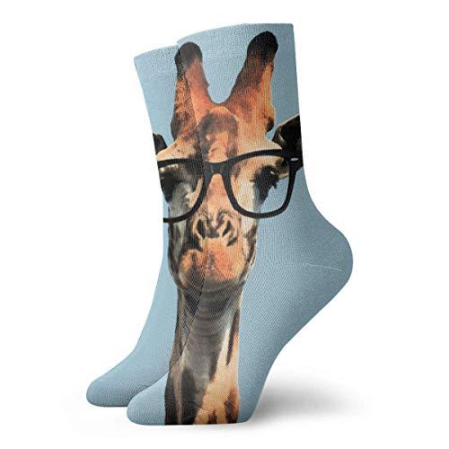 QUEMIN Calcetines divertidos jirafa con gafas de sol 30 cm calcetines largos atléticos de algodón medias de ocio hombres mujeres unisex