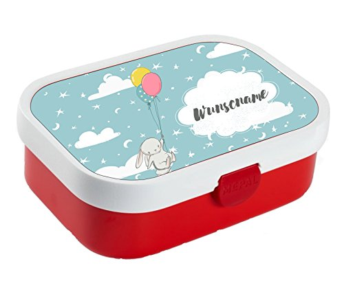 wolga-kreativ Brotdose Lunchbox Bento Box Kinder Hase mit Luftballon mit Namen Rosti Mepal Obsteinsatz für Mädchen Jungen personalisiert Brotbüchse Brotdosen Kindergarten Schule Schultüte füllen
