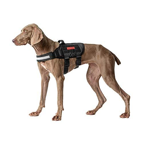 OneTigris Rhinoceros K9 Dog Harness Handled Light Reflective MOLLE Vest for Medium Large Pup (Black, Medium)