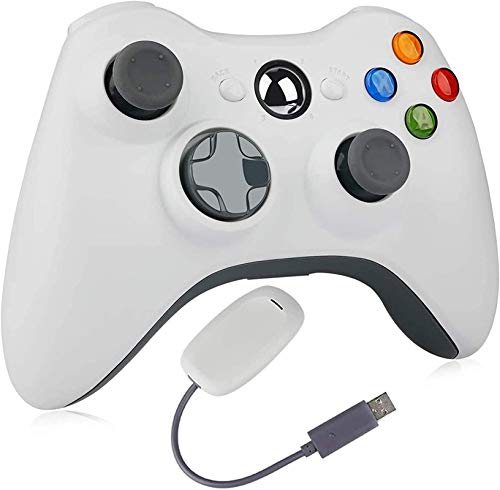 Wireless Controller for Xbox 360, YAEYE 2.4GHZ Game Joystick Controller Gamepad Remote for Xbox 360 Slim Console, PC Windows 7,8,10 (White)