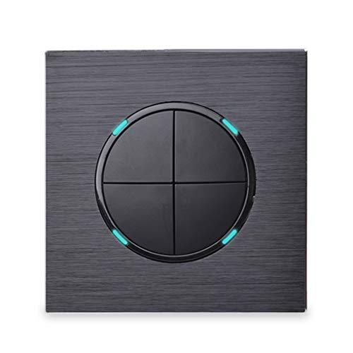 Rekkles LED-Anzeige Schwarz Aluminium Metal Panel Luxuriöse 4-Fach 1 4 Gruppe-1 Zufall Klicken Sie On/Off-Wand Lichtschalter EU-Stecker