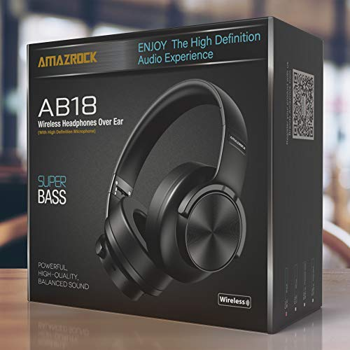 Amazrock High Definition Headphone Wireless Bluetooth (Super Bass) - AB18 HD Bluetooth Over The Ear Headphones with Microphone | Noise Isolation - High end Driver | 42 Hour Playtime | 50mm Driver