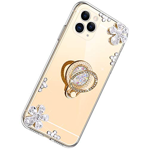 Herbests Compatible avec iPhone 11 Pro Max Coque,Silicone Soft Bling Briller Diamond Coque Gliter Miroir Coque Protection Souple Anti-Glissante Pare-Chocs Anti-Choc Bumper Coque,d'or