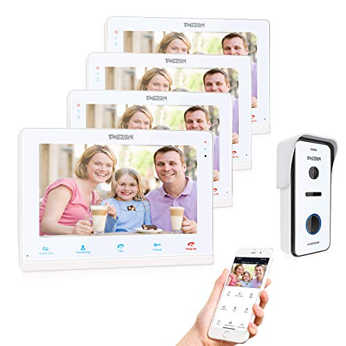 TMEZON Video Doorphone Intercom Doorbell System IP 4 Montior with 1200TVL Wired Doorbell Camera 10' Wireless/Wifi Night Vision, Remote unlock,Talk and view, Record,Snapshot via Smartphone