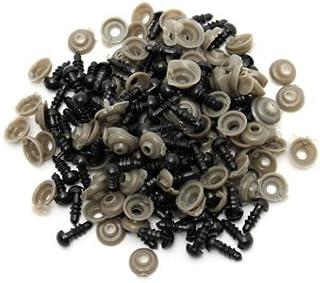 100pcs Yeux en Plastique de Poupée, Yeux de Sécurité en Noirs avec 100 Rondelles pour la Fabrication de Poupée 6,9,10,12mm...