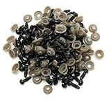 Confezione da 100 occhi di plastica per bambola, occhi neri di sicurezza con 100 rondelle per la creazione di bambole, 6, 9, 10, 12 mm (8 mm).