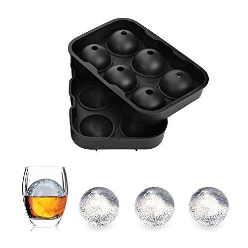 3D Boule de Glace En Silicone Forme Boule Moule à glaçons Glaçons Bols Bac à glaçons pour Whisky, Cocktails et Boisson, 6 glaçons avec Ø4,5 cm Noir noir