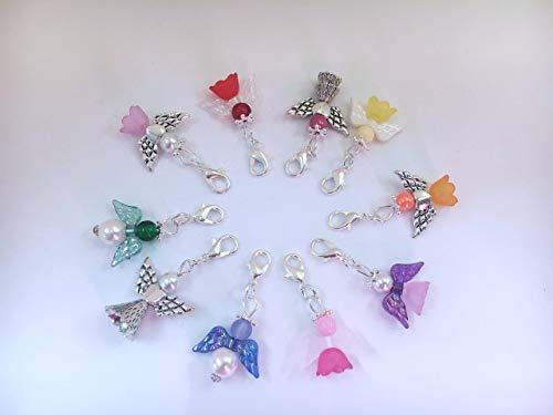 10 Bunt gemischte Perlenengel mit Karabinerhaken, handmade, Schutzengel, Anhänger