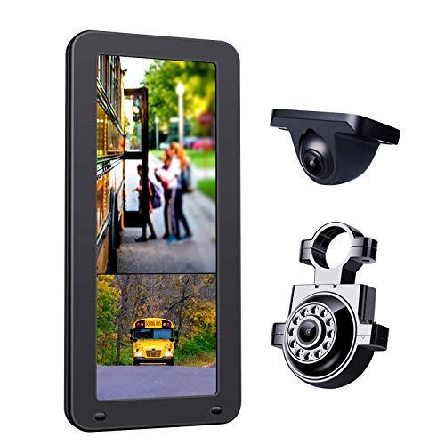 BaiTTang Sistema de cámara de Respaldo Dual 1080P, Monitor Dividido DVR Horizontal/Vertical de 12.3 Pulgadas, cámara de visión Nocturna Impermeable IP68, Espejo retrovisor para vehículos Grandes