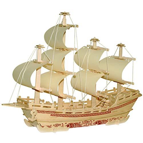 KTYRONE Kits de Modelos de Madera para Adultos y Adolescentes, Puzzles 3D Kits de Manualidades para Adultos, Kits de Construcción de Artesanía en Madera - Barco Mercante de Seda