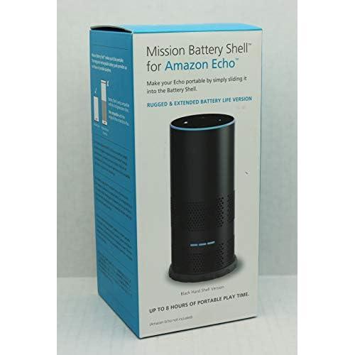 Mission - Cover con batteria integrata per Amazon Echo (2ª generazione), per portare Echo sempre con te, Nero
