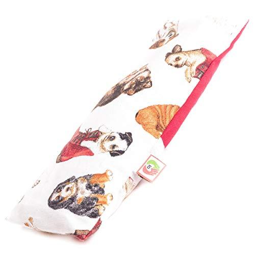 Cojín de Yoga para Meditación - Almohadilla de Semillas para Ojos y Cara (25x10 cm) - Antifaz Relajante con Funda Lavable, Tela de Algodón 100% y Olor a Lavanda (Perritos)