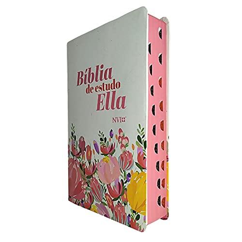 Bíblia Sagrada De Estudo Ella NVI Com Índice - Flores
