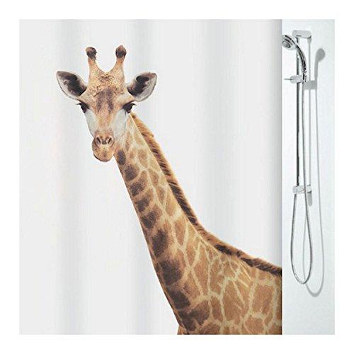 Spirella Anti-Schimmel Duschvorhang Giraffe Savana Anti-Bakteriell, waschbar, wasserdicht Polyester 180x200cm