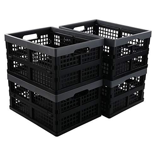 Vcansay Cajas de almacenamiento plegables de plástico de 16 litros, cestas de lavandería, cuerpo negro y bordes grises, 4 paquetes